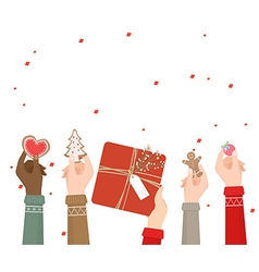 Hands holding christmas decoration on white vector