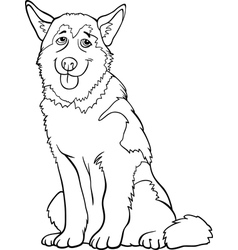 husky or malamute dog cartoon for coloring vector image vector image