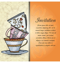 invitation retro hand drawn design card vector image