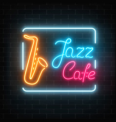 Neon jazz cafe and saxophone glowing sign on a vector