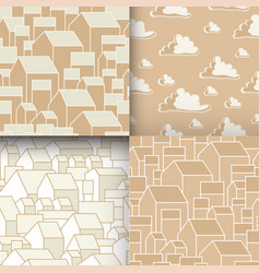 Set of unusual seamless patterns with houses and vector