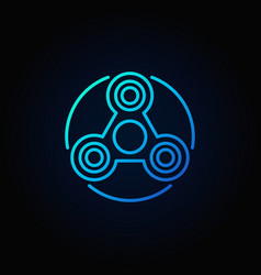 Simple fidget spinner blue icon vector