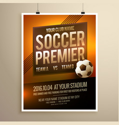 Soccer sports flyer poster design template vector
