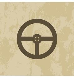 Steering Wheel icon on grunge background vector image