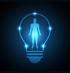 Technology future human body light bulb vector