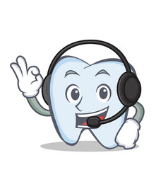 Tooth character cartoon style with headphone vector