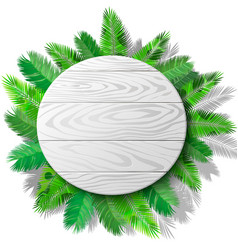 wooden circle and palms vector image