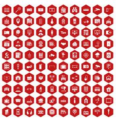 100 camera icons hexagon red vector