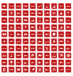 100 transport icons set grunge red vector image vector image