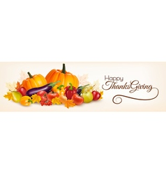 Happy Thanksgiving banner with autumn vegetables vector image