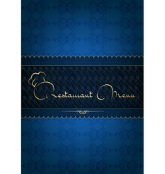 Blue restaurant menu decorated with floral pattern vector image