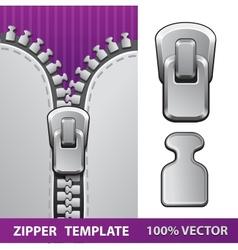 Silver zipper realistic vector