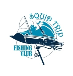 Fishing club icon for squid catch trip vector