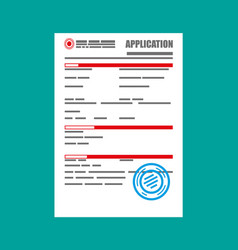 Application form paper blank with seal vector