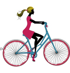 woman on bike vector image