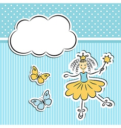 Little princess with paper cloud and butterflies vector