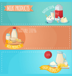 milk products horizontal banners set vector image