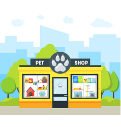 cartoon pet shop building vector image