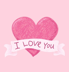 Hearts i love you pink vector