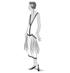 Stylish cloth woman fashion dressed girl 1930s vector
