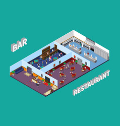 bar restaurant isometric design vector image
