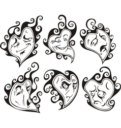 Heart shaped faces vector