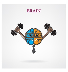 Creative brain sign with the dumb bell vector