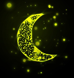 Shiny crescent moon on green background vector