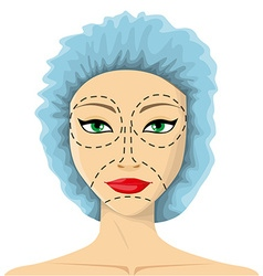 Woman is preparing to plastic surgery vector