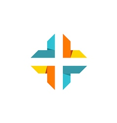 Cross shape abstract technology logo vector