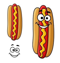 Cartoon hot dog with mustard vector