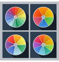 Set of four icons with color circles vector
