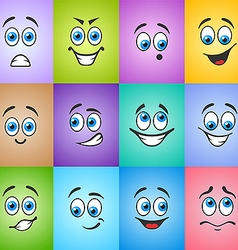 Different emotions on colored background vector