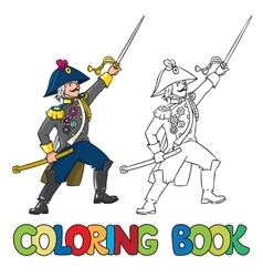 Brave general or officer with sword coloring book vector