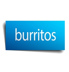 Burritos blue square isolated paper sign on white vector