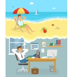 Man dreaming about holiday composition vector