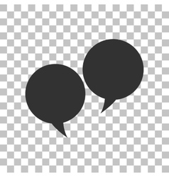 Speech bubble sign dark gray icon on transparent vector