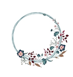 Floral frame cute flowers arranged un a shape of vector