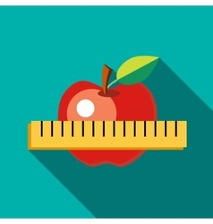 Red apple with measuring tape icon flat style vector