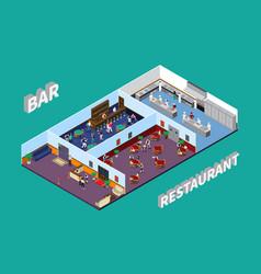 bar restaurant isometric design vector image vector image