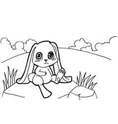 bunny cartoon coloring pages vector image vector image
