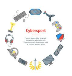 cartoon cyber sport banner card circle vector image vector image