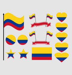 colombia flag set collection of symbols flag vector image vector image