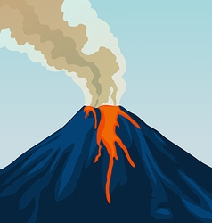 Crater mountain volcano hot natural eruption smoke vector