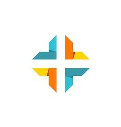 Cross shape abstract technology logo vector