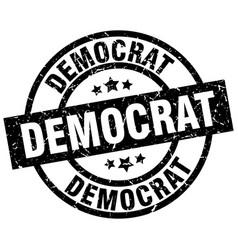 Democrat round grunge black stamp vector