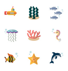 Flat icon nature set of hippocampus periscope vector