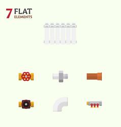 flat icon pipeline set of tap plastic radiator vector image vector image