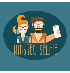 hipster selfie concept flat design vector image vector image
