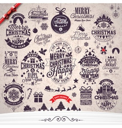 Merry christmas holiday typographic design set vector